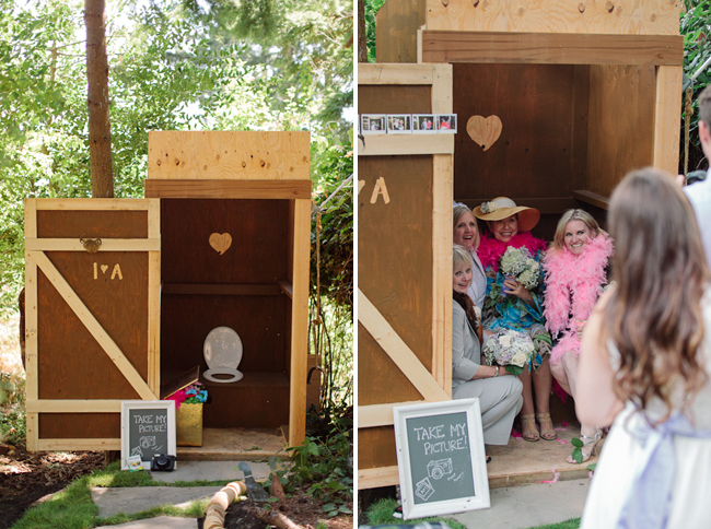 outhouse photo booth with guests having their picture taken