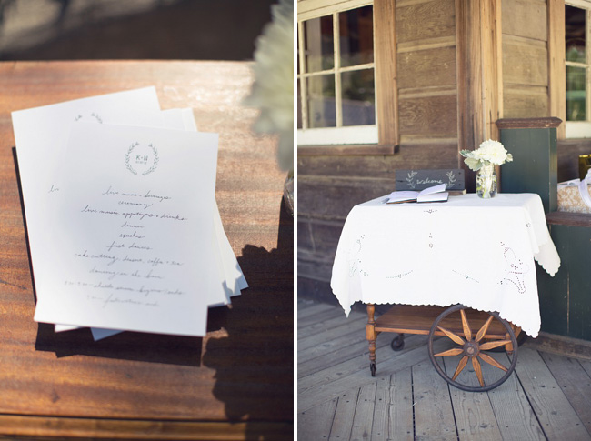 programs on old wooden serving cart