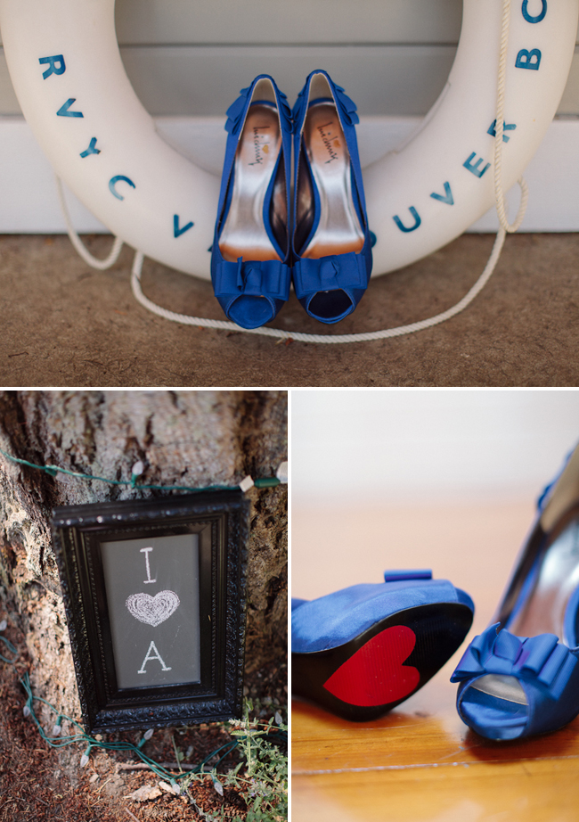 blue peep toe shoes with red heart on bottom sit on RVYC life saver