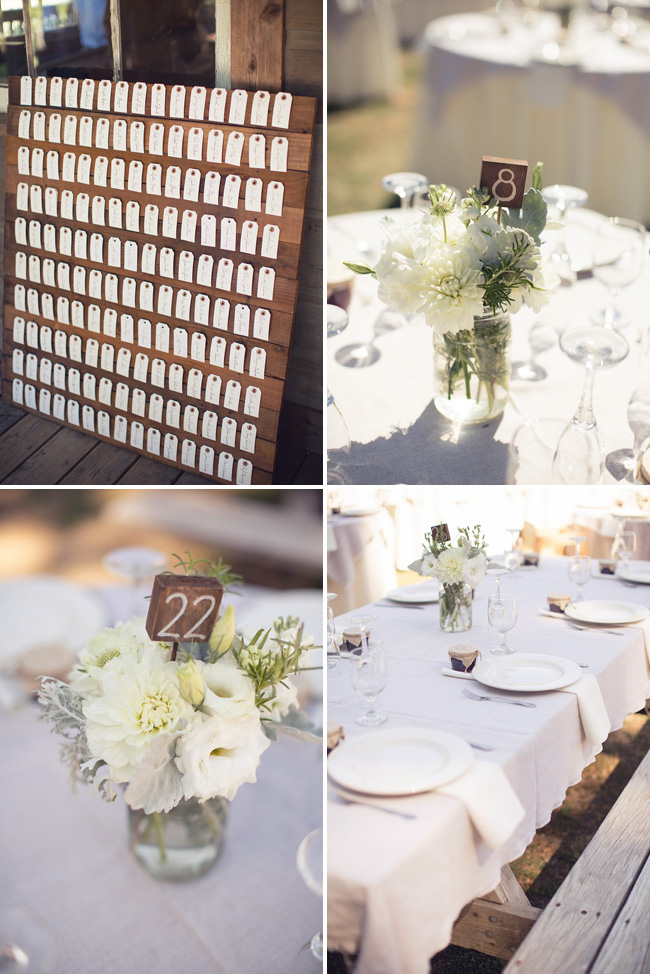 wedding at Radonich Ranch table details