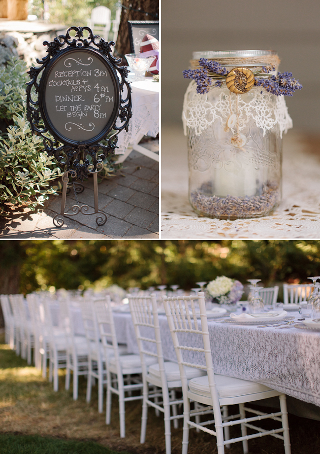 chalkboard sign on easel (left). lace and lavender wrapped jar (right)