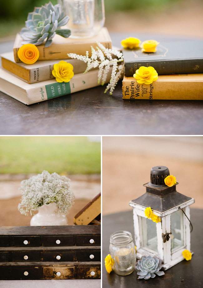 old books with yellow flowers as centerpiece