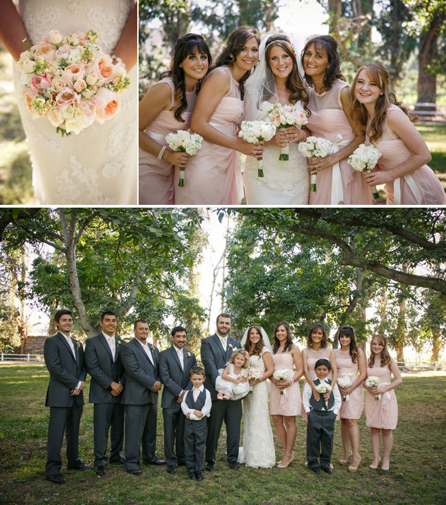 beuatiful pastel colors in bride's bouquet; bridesmaids in peach/pink dresses