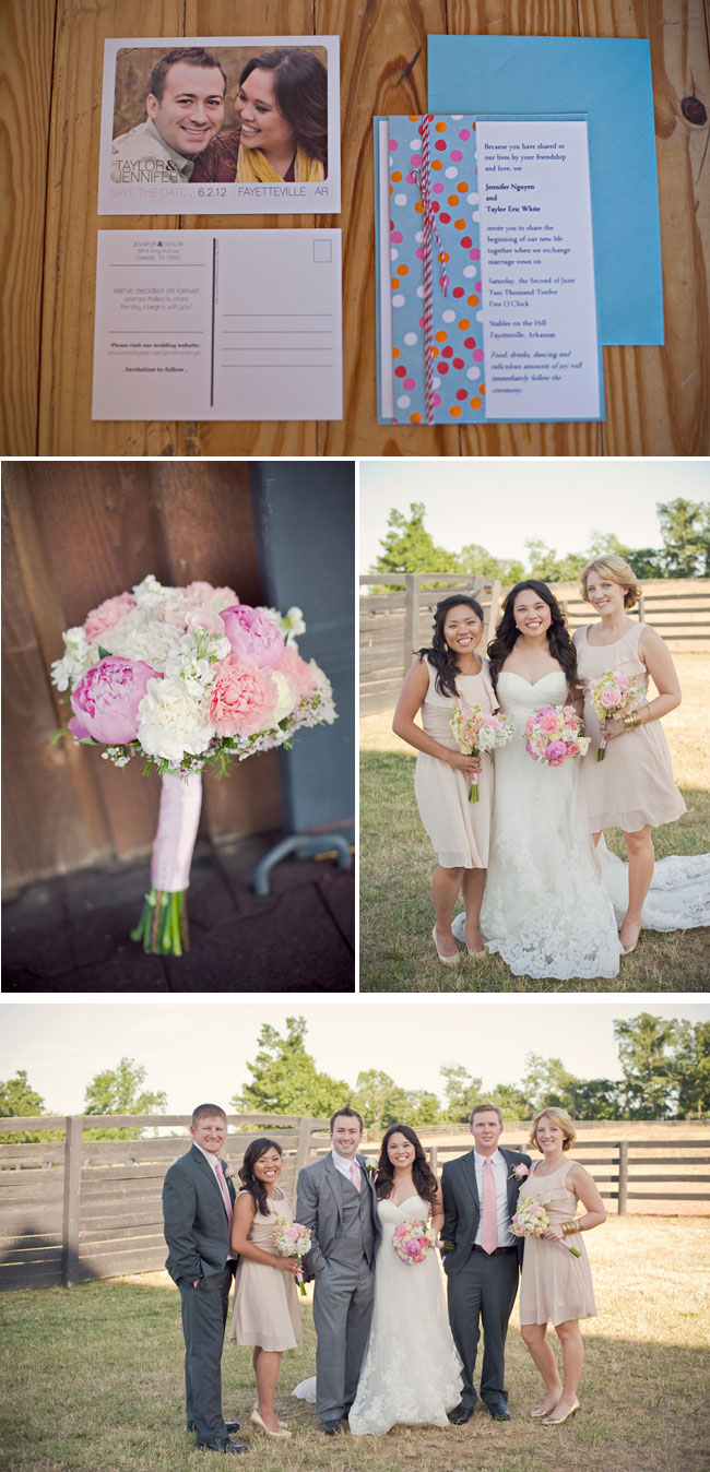 Eco-conscious wedding at Stables on the Hill: invitations, flower bouquet, bridal party outdoors