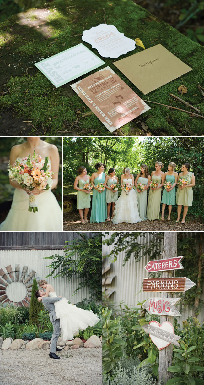 wedding invitations, Green mismatched bridesmaids dresses, and wooden signs for farm chic wedding at Millcreek Barn