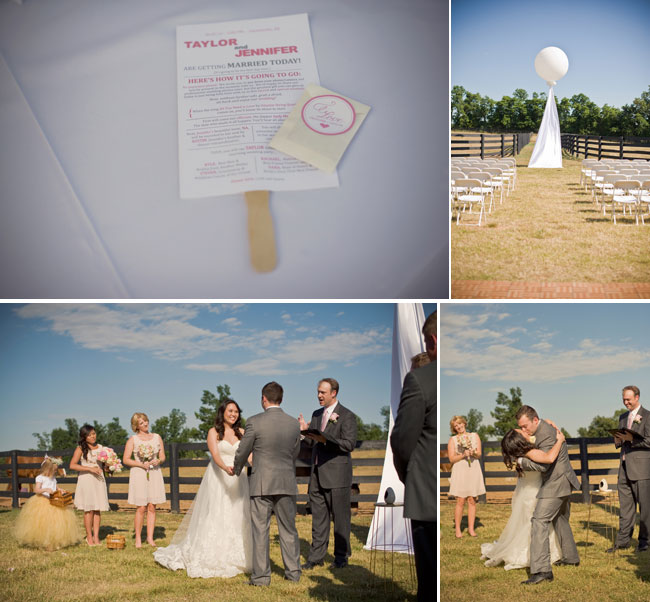 Eco-conscious wedding ceremony outdoors in Arizona with white geronimo balloon