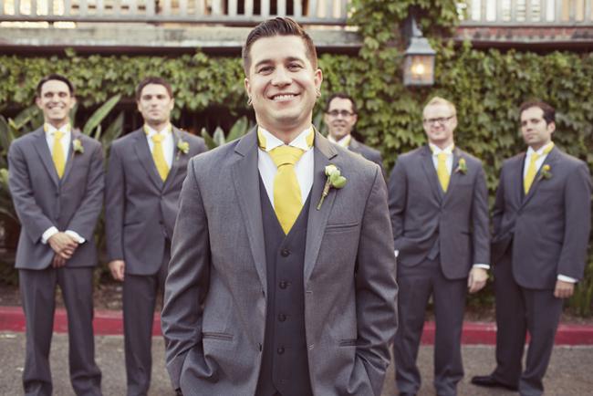 groom and groomsmen in lemon yellow neckties