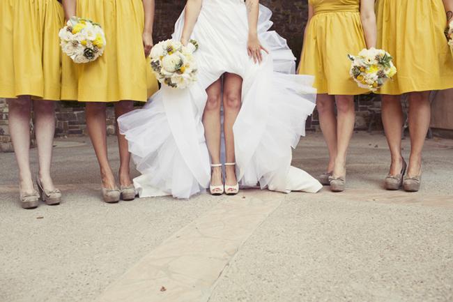 lemon yellow bridesmaid dresses and bride in white dress