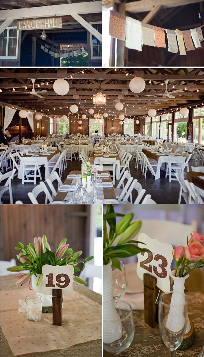 Dance Hall and wedding reception area for farm chic wedding at Millcreek Barn; clothespin table numbers