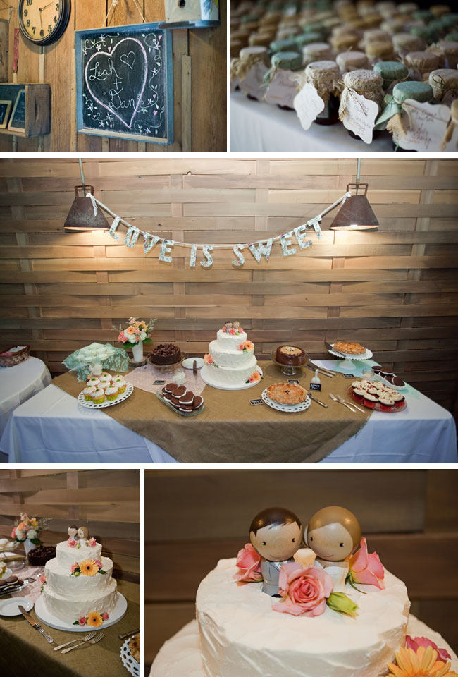 dessert table and photo of 3-tier white wedding cake with caricature cake topper for wedding at Millcreek Barn