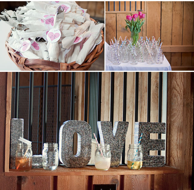 Eco-conscious wedding details: mason jars with swirl straws and giant letters made out of plastic straws that spells LOVE