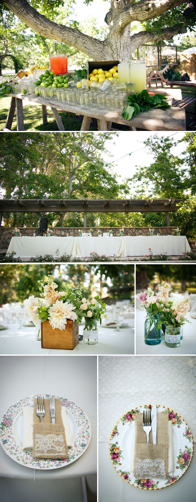 drink table with mason jar glasses; head table; flower centrepieces; old china plates with burlap cutlery holders