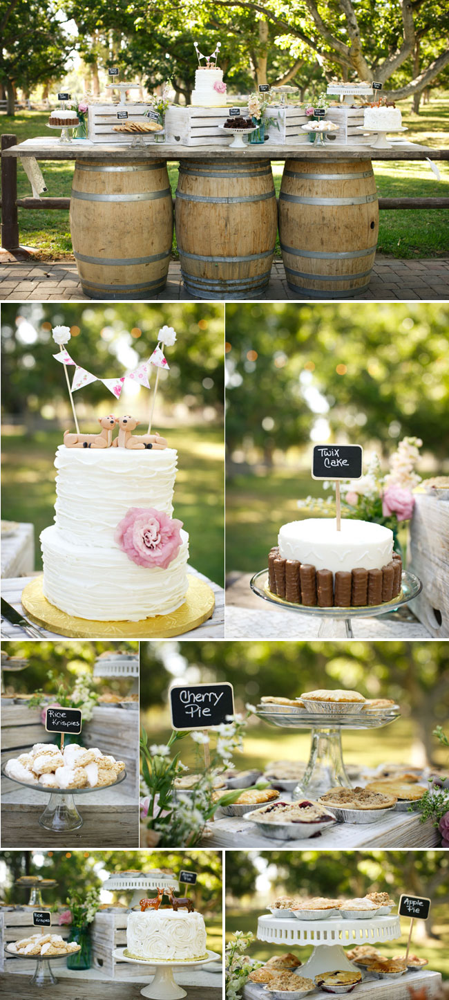 pies, cakes, tarts; wedding cake with whimsical cake-topper for wedding at Walnut Grove