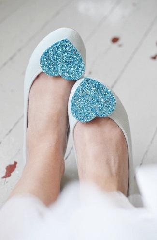 turquoise aqua shoe clips glitter heart
