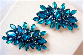 blue rhinestone shoe clips