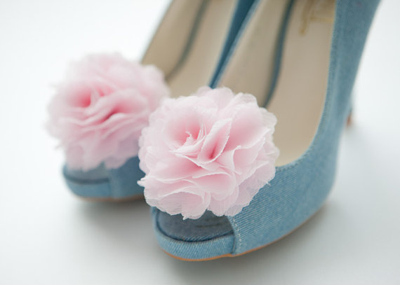 chiffon flower shoe clips for wedding