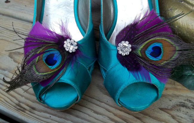 peacock feather shoe clips
