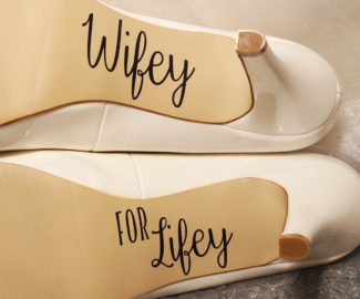 wifey written on bottom of heels