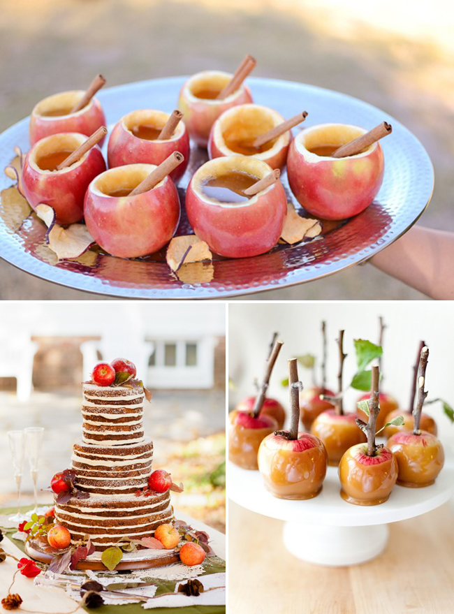 Hollowed out apples with cider inside and a cinnamon stick; apple wedding cake; candied caramel apples with twig sticking out as handle
