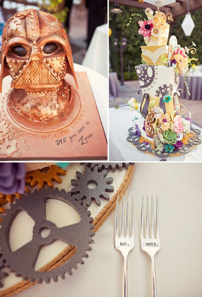 darth vader mask wedding cake with engraved forks