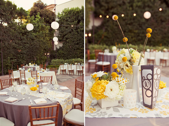 Outdoor reception area for wedding at Franciscan Gardens with billy ball centerpieces