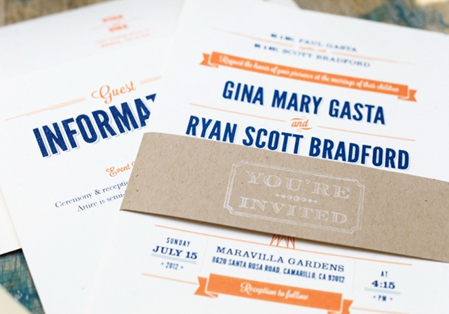 wedding invitation for Maravilla Gardens wedding