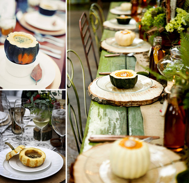 Soups served in an acorn squash bowl on top of wooden round at wedding reception