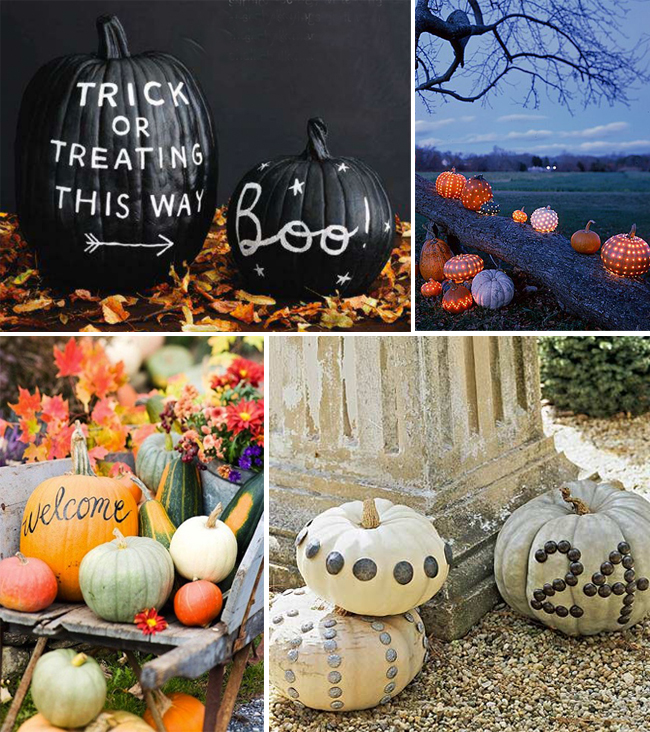 pumpkin inspiration to decorate your wedding: black pumpkins with white writing, different varieties of pumpkins, pumpkins table numbers with stones attached
