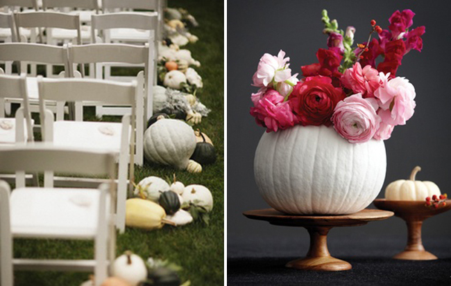 pumpkin inspiration: pumpkins on ground beside white foldup chairs at wedding ceremony; white painted pumpkin with red and pink flowers out the top