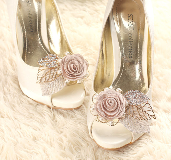 rhinestone shoe clips with flower and gold leaves
