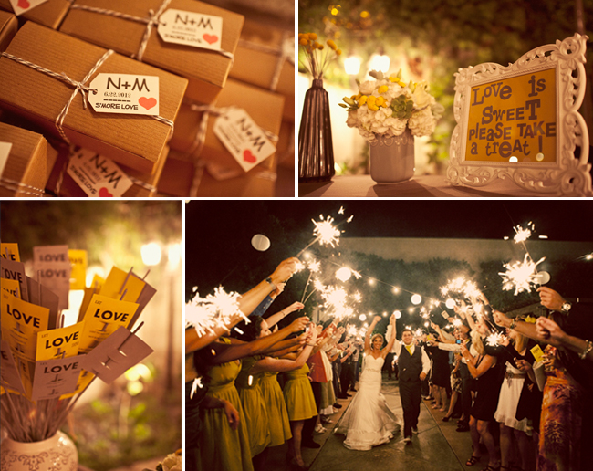 make your own s'more wedding favors and sparkler send off photo