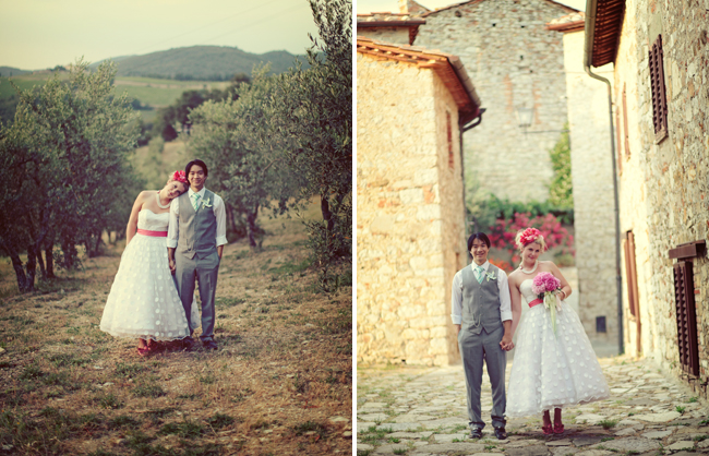 Bride and Groom whimsical wedding in Tuscany