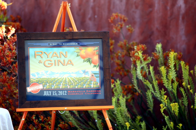 citrus themed wedding poster for Ryan & Gina's wedding