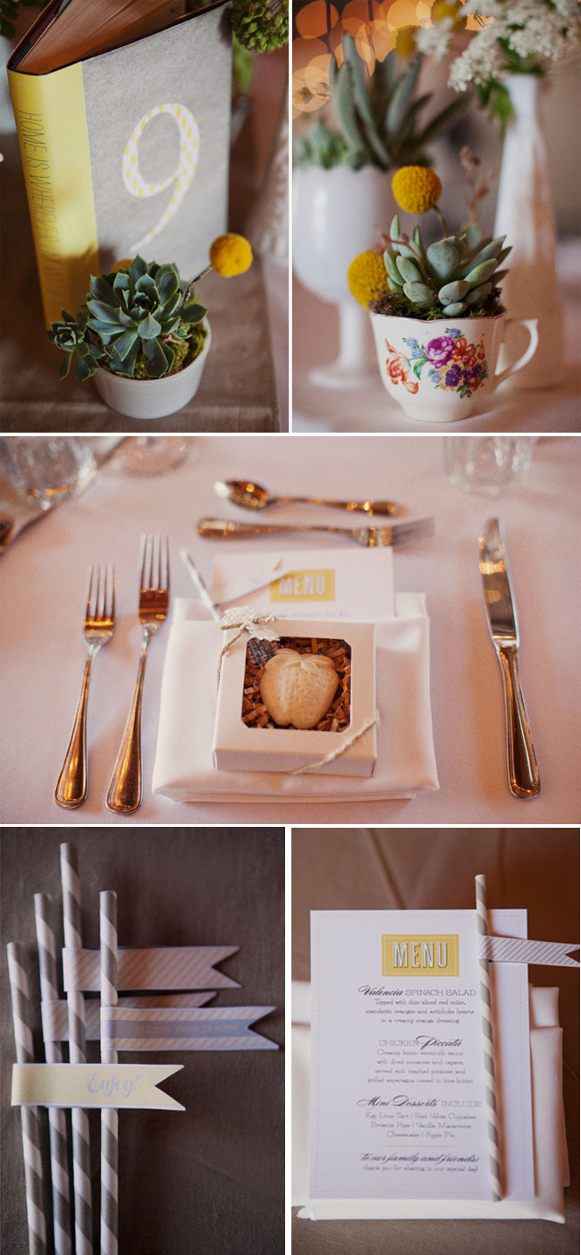 Billy ball and succulents in tea cup wedding decor