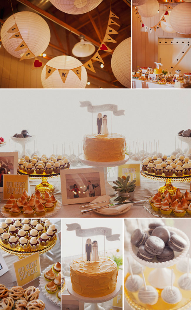 Dessert table with macaroons, tarts, cake and more