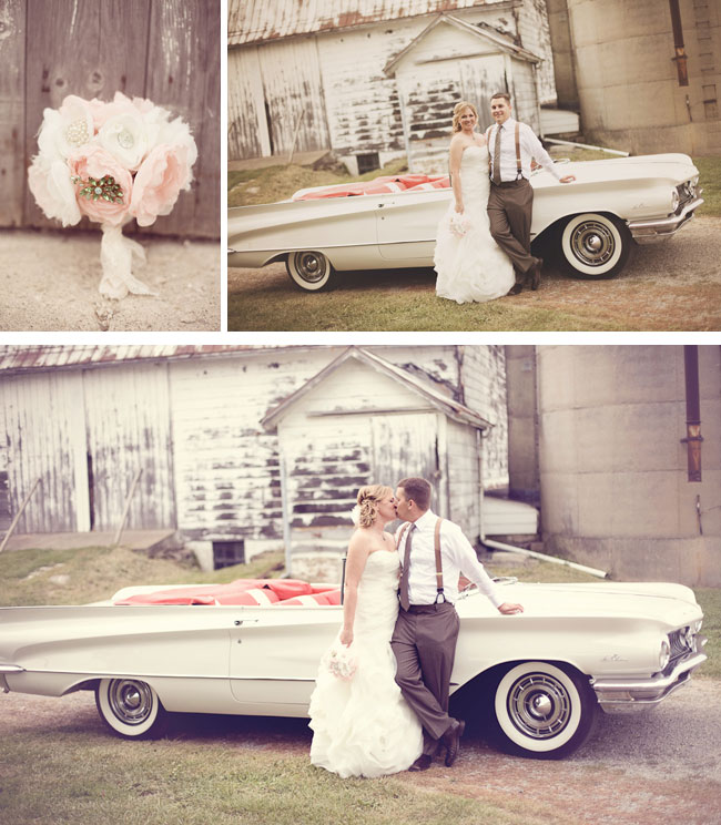 Pink Wedding with a classic car in white photos of bride and groom leaning on car