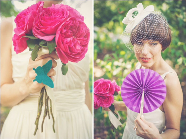 bride's bouquet of peonies; purple paper fan