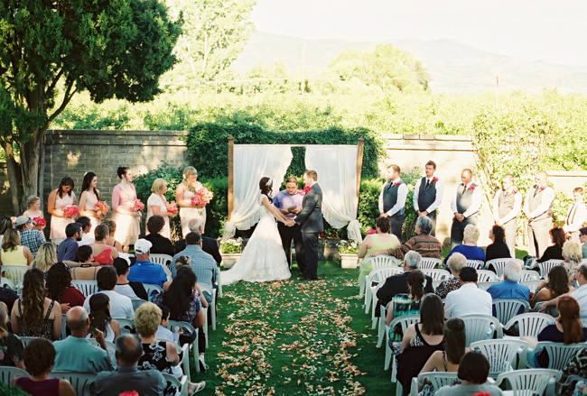 outdoor wedding ceremony at Voorhies Mansion