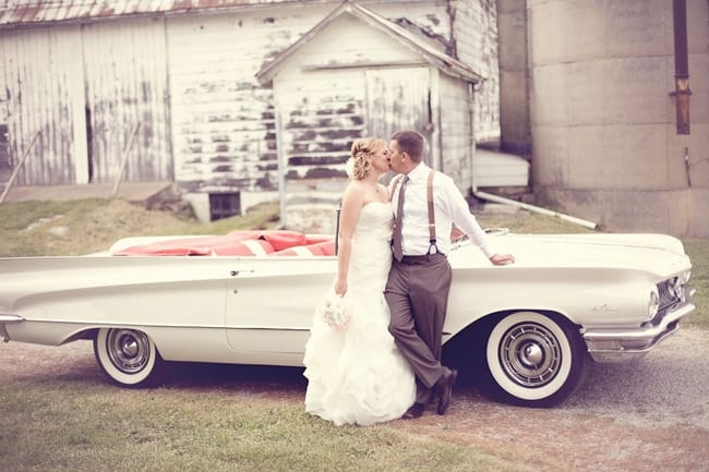 classic car wedding reception couple