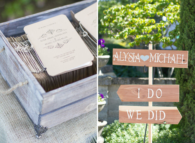 wedding programs in wood box