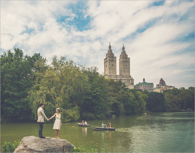wedding in Central Park with view of the San Remo towers in background