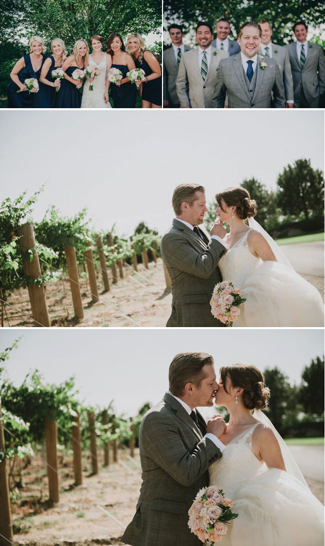 Bridal party photos, with bride and groom kissing in vineyards of Basel Cellars Winery