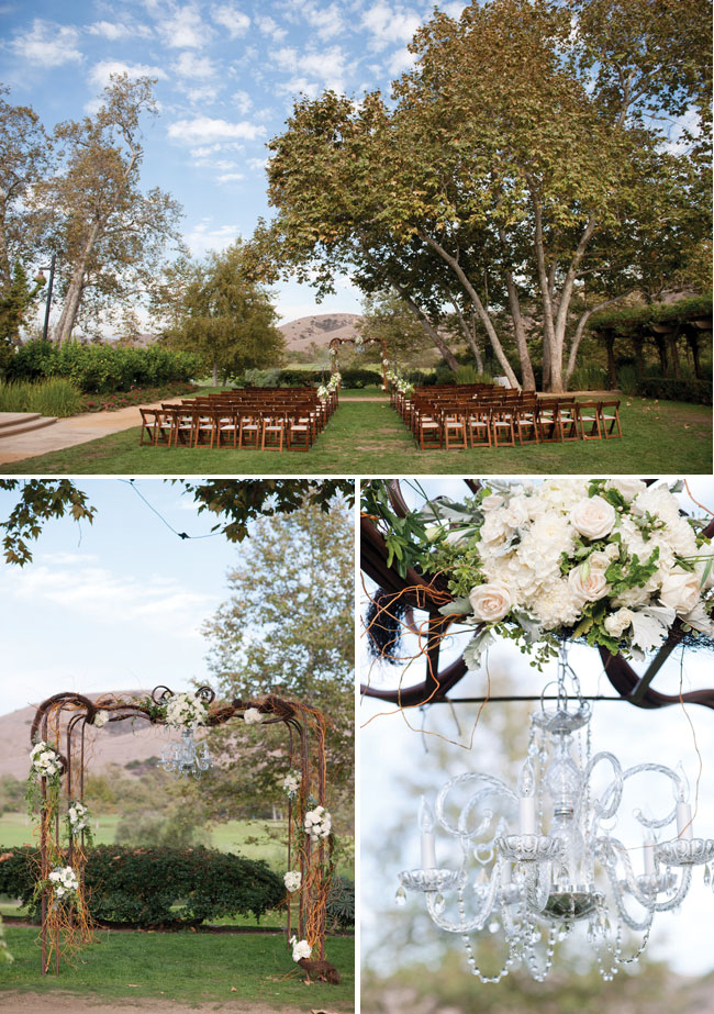 Photos of ceremony site and alter for outdoor wedding at Arroyo Trabuco Golf Club