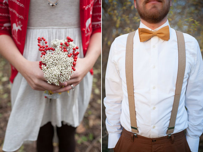bride with simple holly berry bouquet and groom with golden yellow bowtie and suspenders