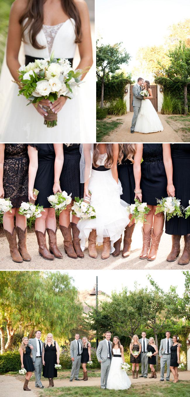 bridal party wearing cowboy boots and black bridesmaid dresses