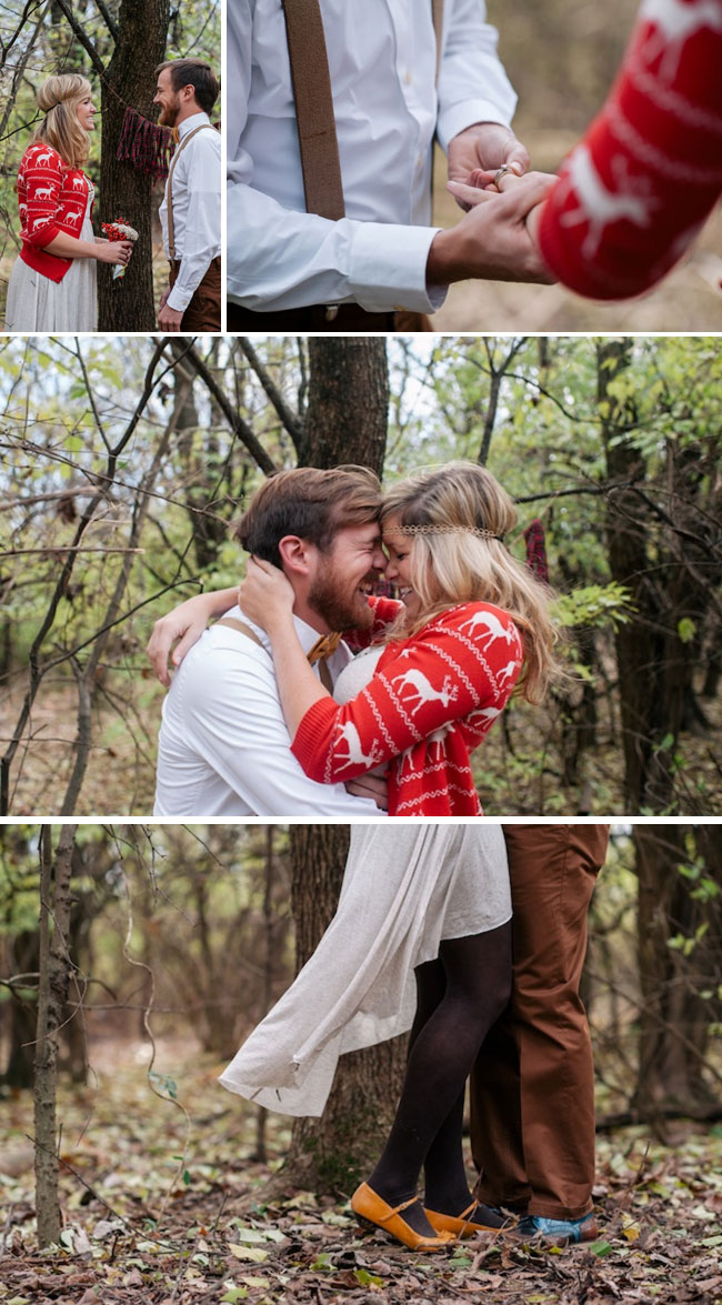 Rustic Woodland Elopement wedding ceremony with ring exchange