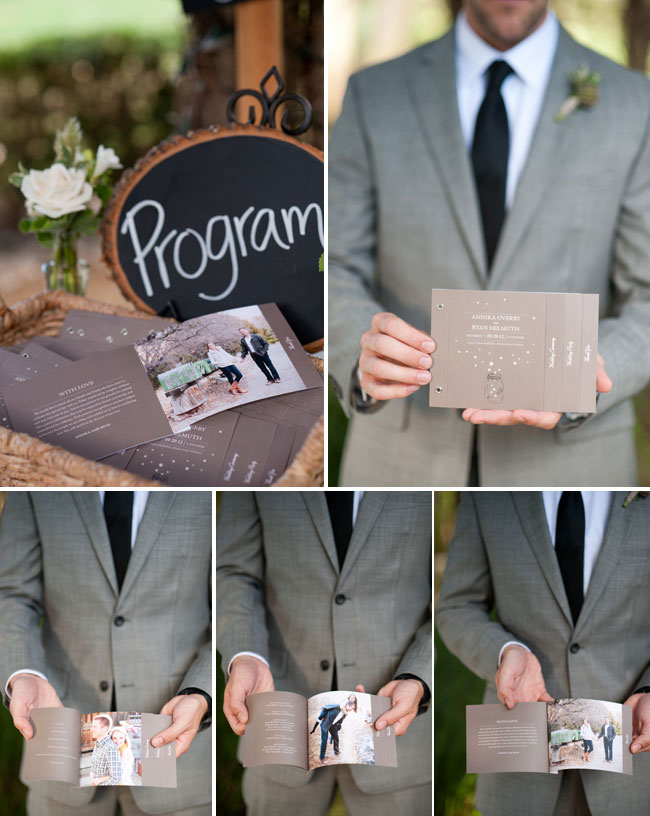 Groom holding minibook Wedding Program