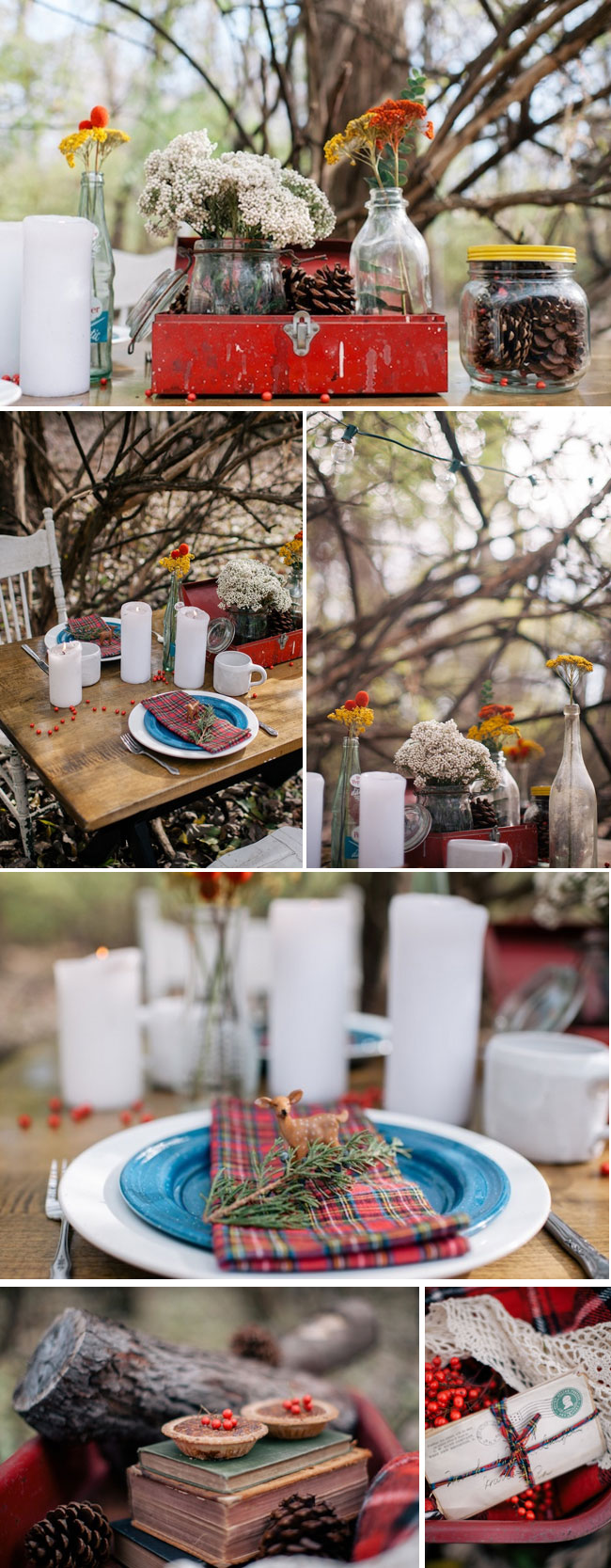 rustic elopement details: pinecones in mason jar, checkered napkins with deer figurine, pumpkin tarts with holly berries