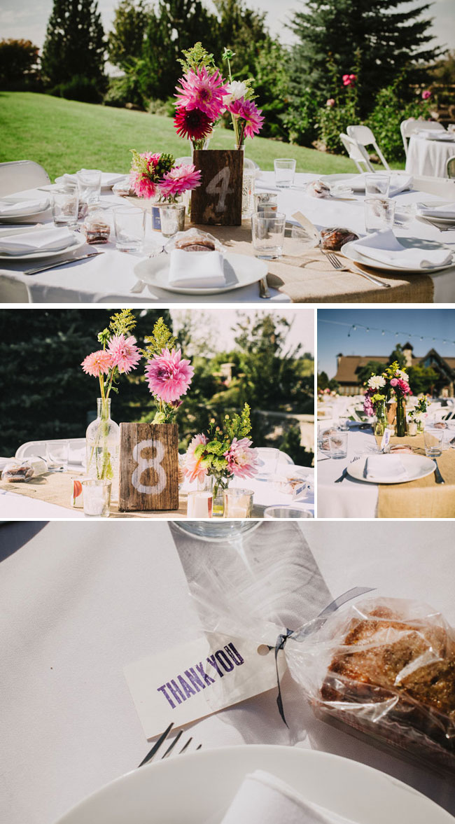 pink flower centerpiece at outdoor wedding reception