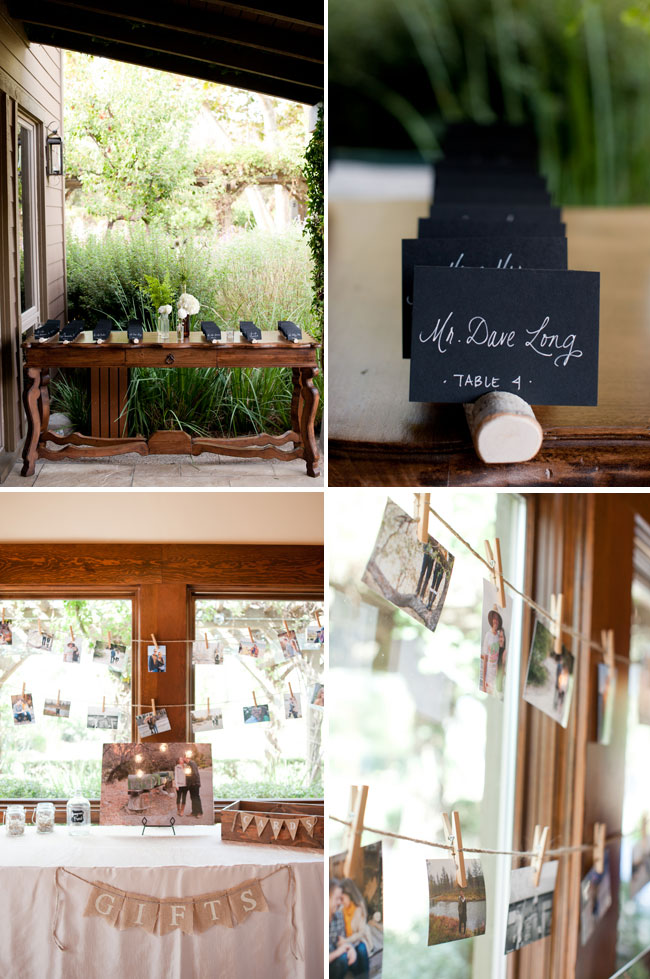 table seating cards on wood log